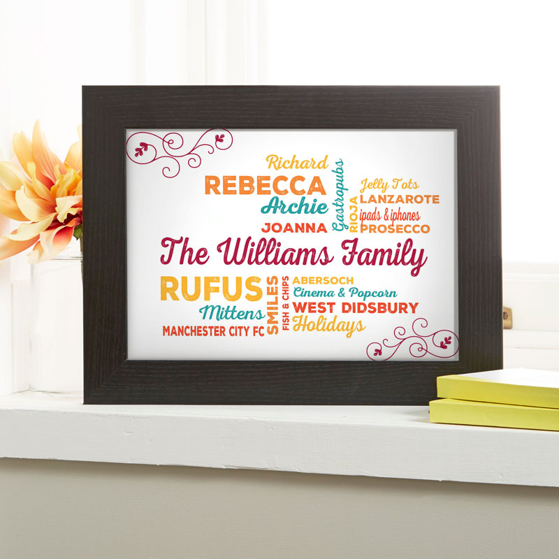 personalised gifts family word art