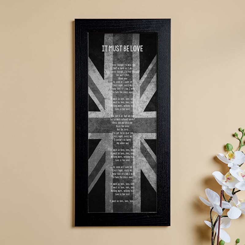 valentines gift ideas personalised song lyrics wall art picture