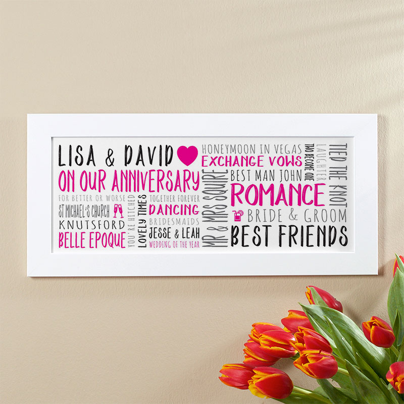 wedding anniversary personalised gift wall art words