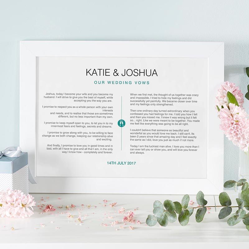 personalised print wedding vows