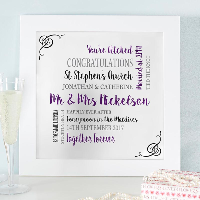 personalised word art picture for weddings