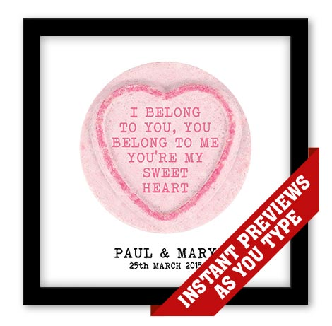 personalised love heart sweet print chatterbox walls